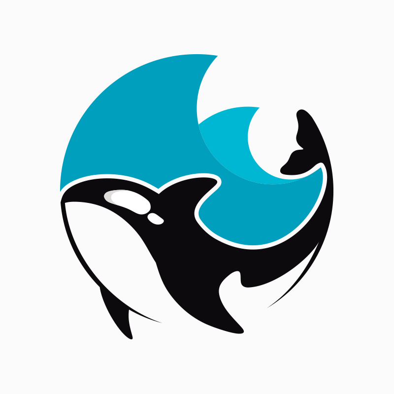 Circle featuring two waves and an orca.